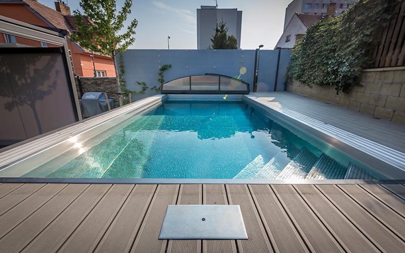 Nerezový bazén Imaginox s vysokým zakrytím Alukov pro celoroční koupání