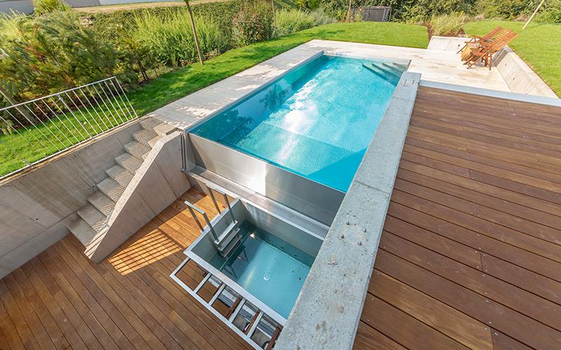 Kombinace nerezového bazénu s nerezového ochlazovacího bazénu Imaginox k sauně