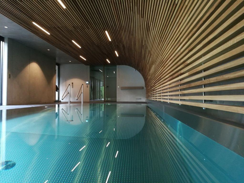 Pool hall with overflow pool