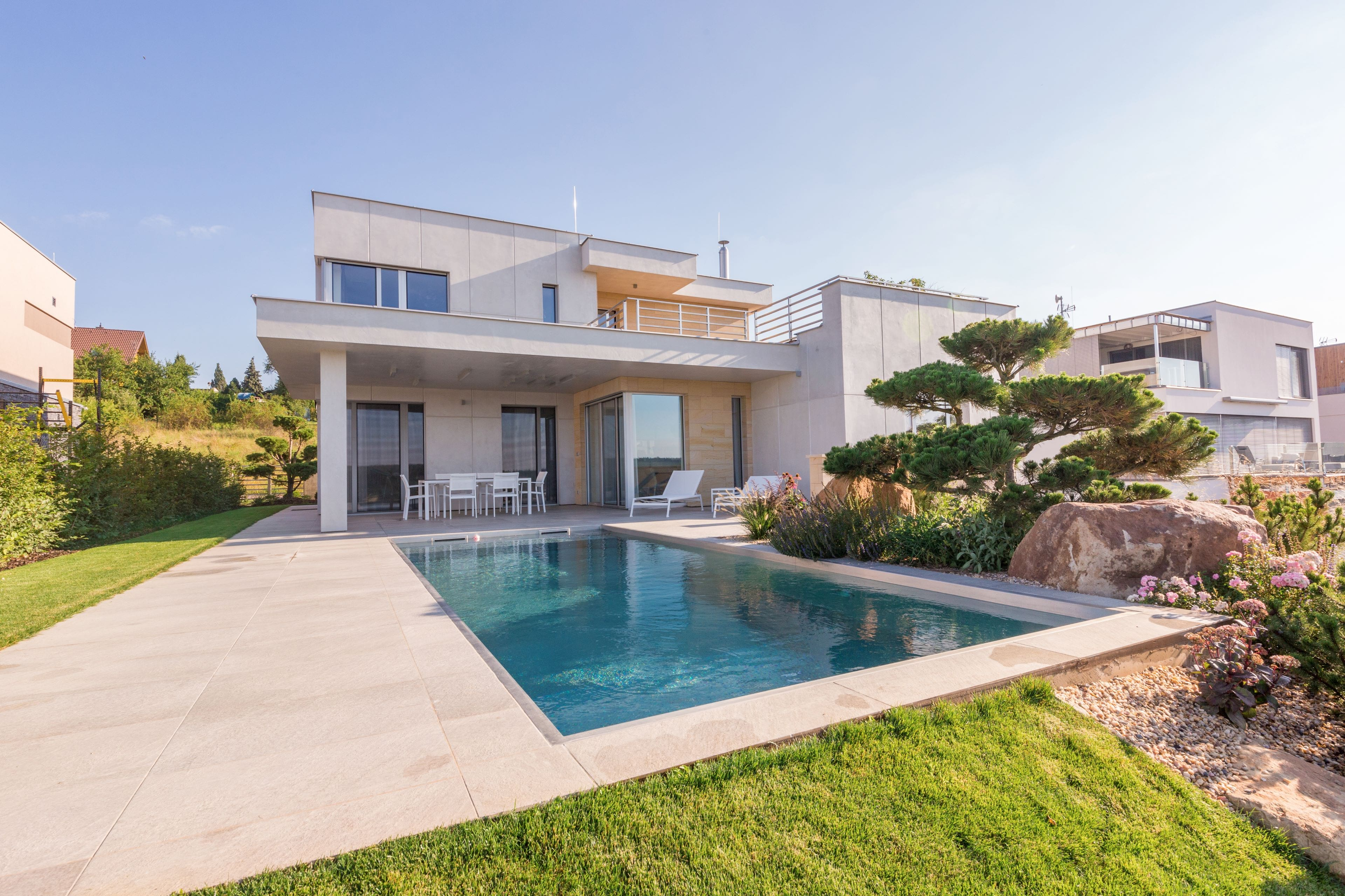 Outdoor Stainless-Steel Pool with Solar Lamella